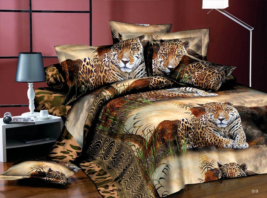 Home Textiles Jungle Leopard Pattern 3d Bedding Sets 4pcs