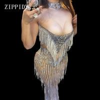 Sparkly Crystals Tassel Dress Sexy Nightclub Stones Neck Long Dress Costume Women S Prom Birthday Celebrate