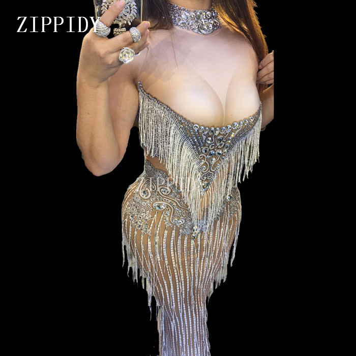 Sparkly Crystals Tassel Dress Sexy Nightclub Stones Neck Long Dress Costume Women's Prom Birthday Celebrate Dresses Outfit
