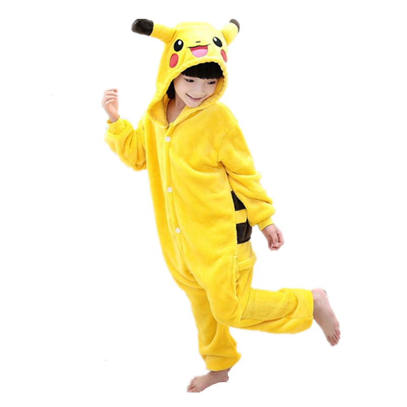 ბავშვები Kigurumi Pokemon Pikachu Cosplay კოსტუმი საბავშვო Onesie Pajamas for Halloween Carnival New Year Party