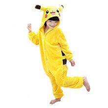 Children Kigurumi Pokemon Pikachu Cosplay Costume Kids Onesie Pajamas For Halloween Carnival New Year Party