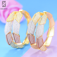 SisCathy Exquisite Professional Womens Jewelry Charms Big Hoop Earrings Multicolor CZ Prevent Statement For Women