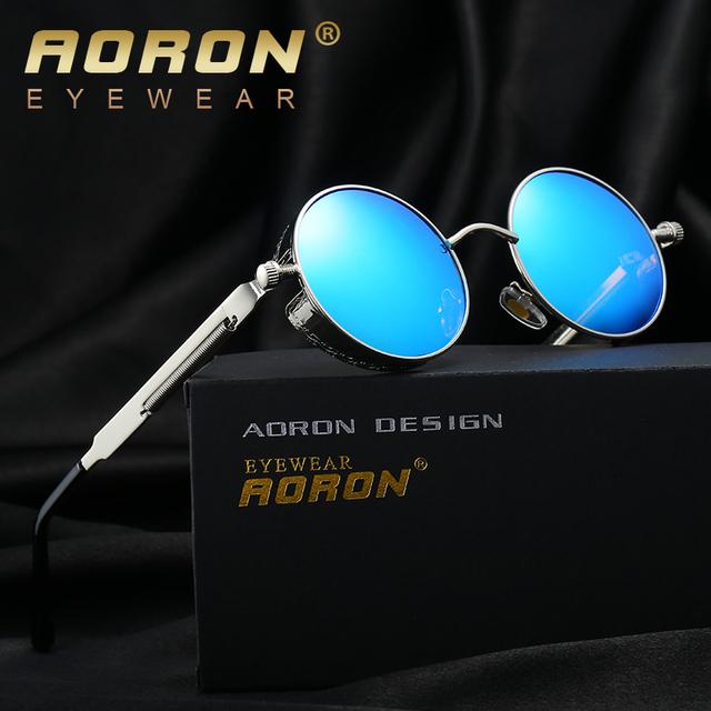 AORON Gothic Steampunk Rodada óculos de Sol Óculos Homens & Mulheres Polarizada Óculos De Sol John Lennon Avó óculos de Sol Óculos de Sol Do Vintage