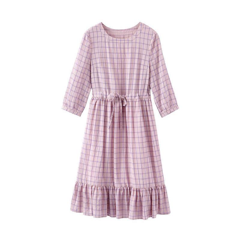 INMAN 2019 Лето Новое прибытие молодой литературный стиль o-образным вырезом три четверти рукав подчеркивающий талию ТРАПЕЦИЕВИДНОЕ красивое клетчатое женское платье