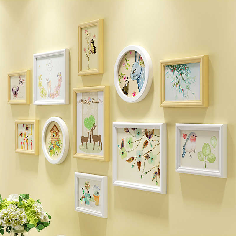 Spring Animals Print Wooden Wall Hanging Photo Frames Set 11pcs/set Wooden Picture Frames Set Home Decoration Photo Frames Set