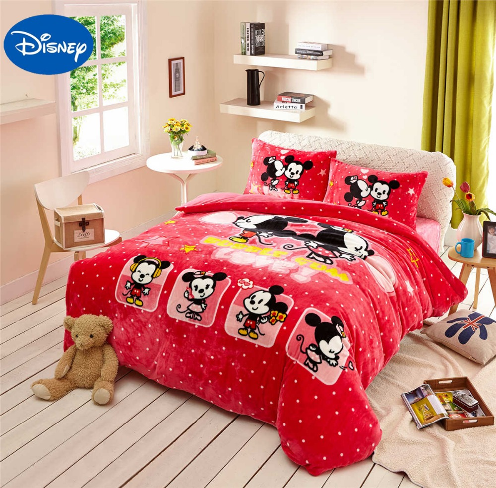 Mickey Minnie Mouse Print Flannel Comforter Bedding Set
