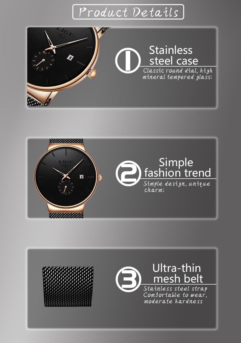 HTB1aV7ue8Gw3KVjSZFwq6zQ2FXau Relojes Hombre LIGE New Mesh Steel Men Watches Top Brand Luxury Ultra-thin Waterproof Quartz Watch Men Casual Sport Quartz Clock