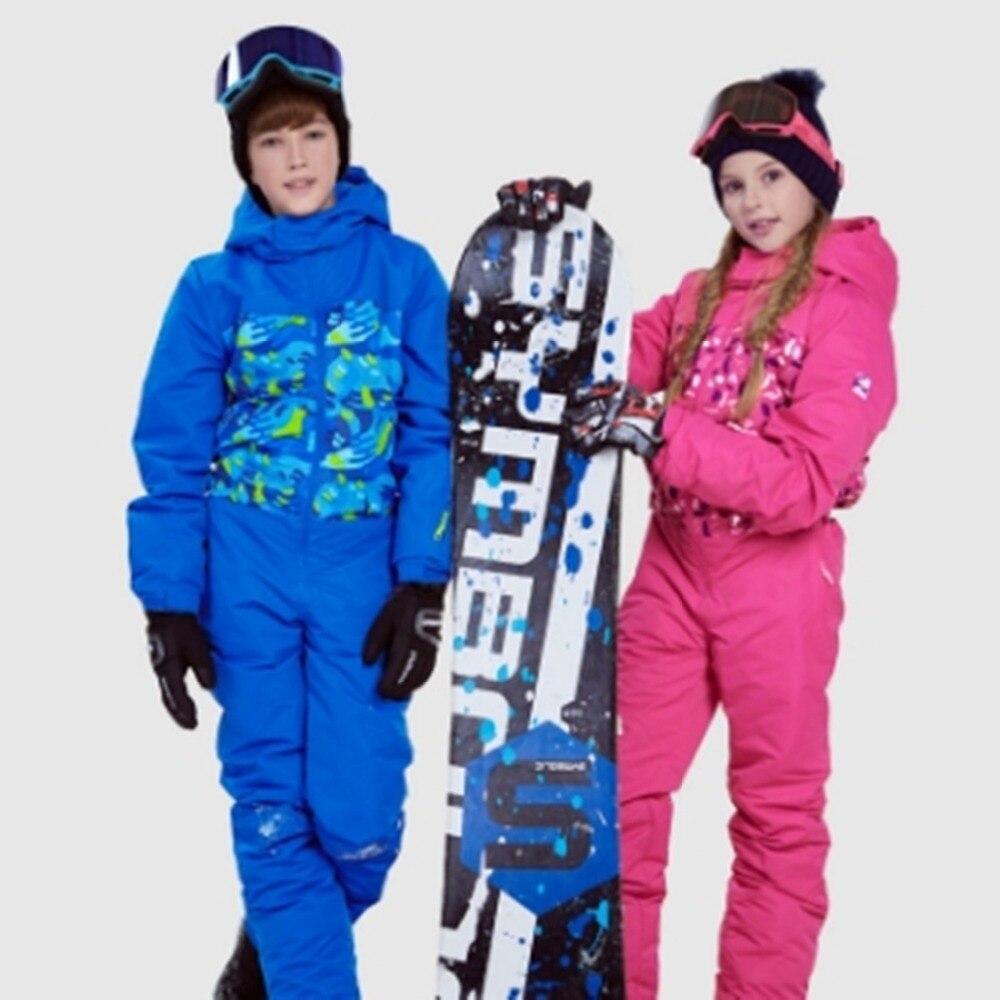 цена на new Winter Fleece Warm Ski Suit Boys girls Waterproof Mountain Skiing Jacket Coat Snowboard Jumpsuit 81811
