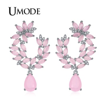 Unique Pink Genuine Austrian Rhinestones Cluster Flower Drop Earrings