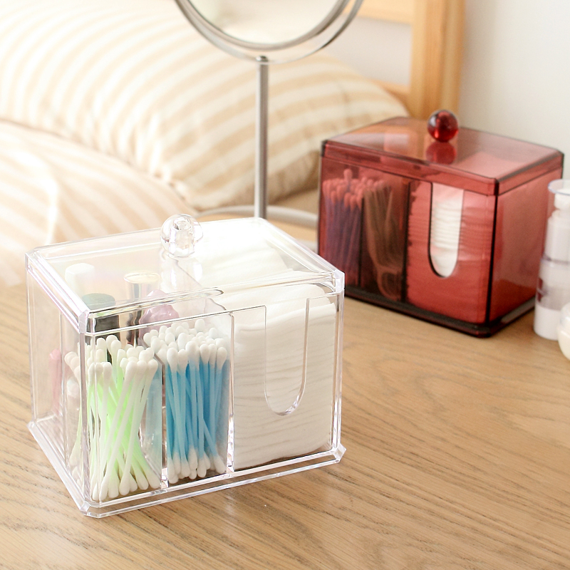 Acrylic makeup organizer with lid Clear Cotton Swabs Stick Storage