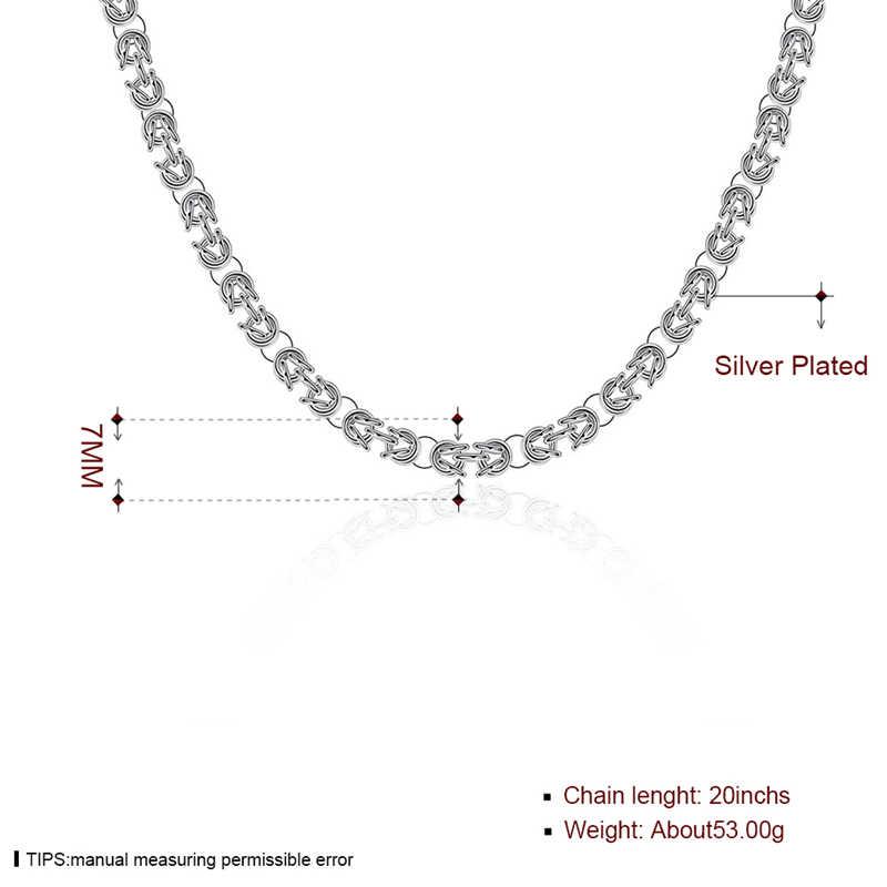 Moda 925 kolor srebrny łańcuch 7mm pudełko na naszyjnik łańcuch dla kobiet mężczyzn Locket Chokers naszyjniki biżuteria prezent na boże narodzenie gorąca sprzedaż