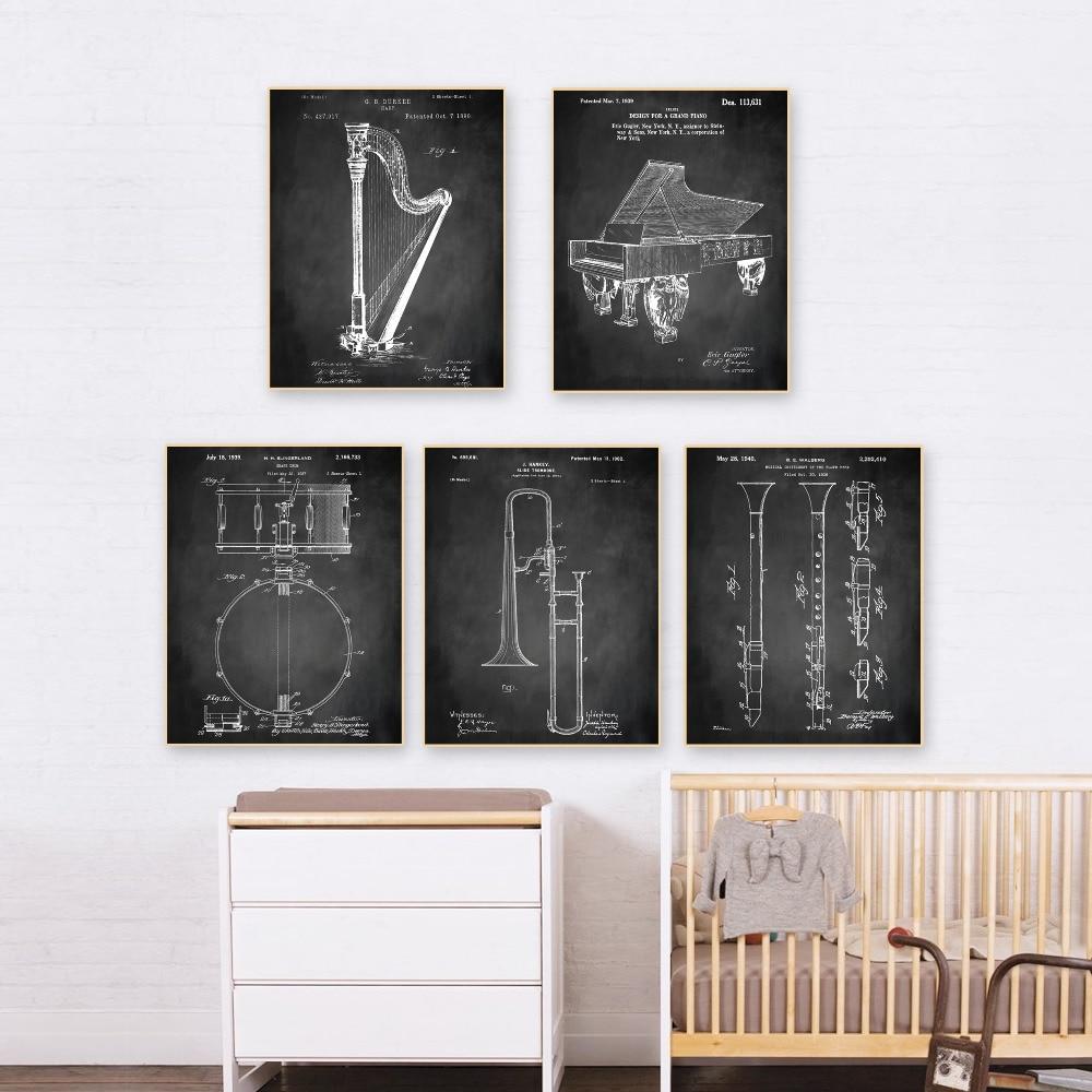 Paten antik, Instrumen seni, G1 poster set 5 in 1 pembibitan pesawat - Dekorasi rumah - Foto 6
