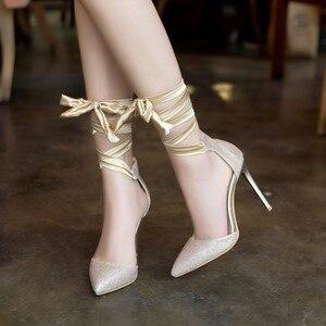 Image 5 - Женские туфли на высоком каблуке, туфли лодочки больших размеров 11, 12, 13, 14, 15, 16, 17, обувь на тонком каблуке с острым носком и ремешком