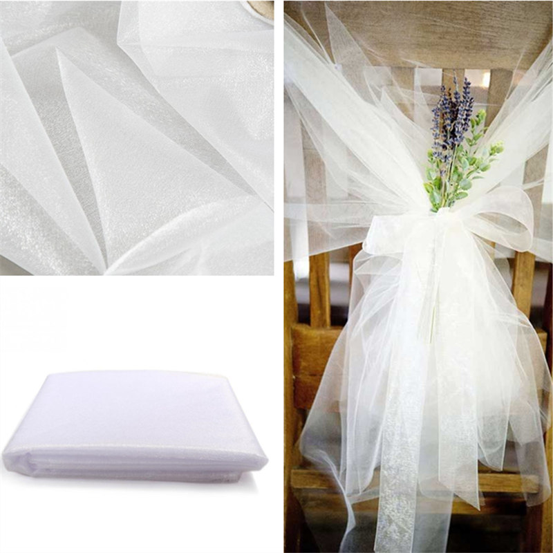 Cheap!45cm*5meter Sheer Crystal Organza Tulle Roll Fabric For Wedding Party Home Decoration New year Decoration