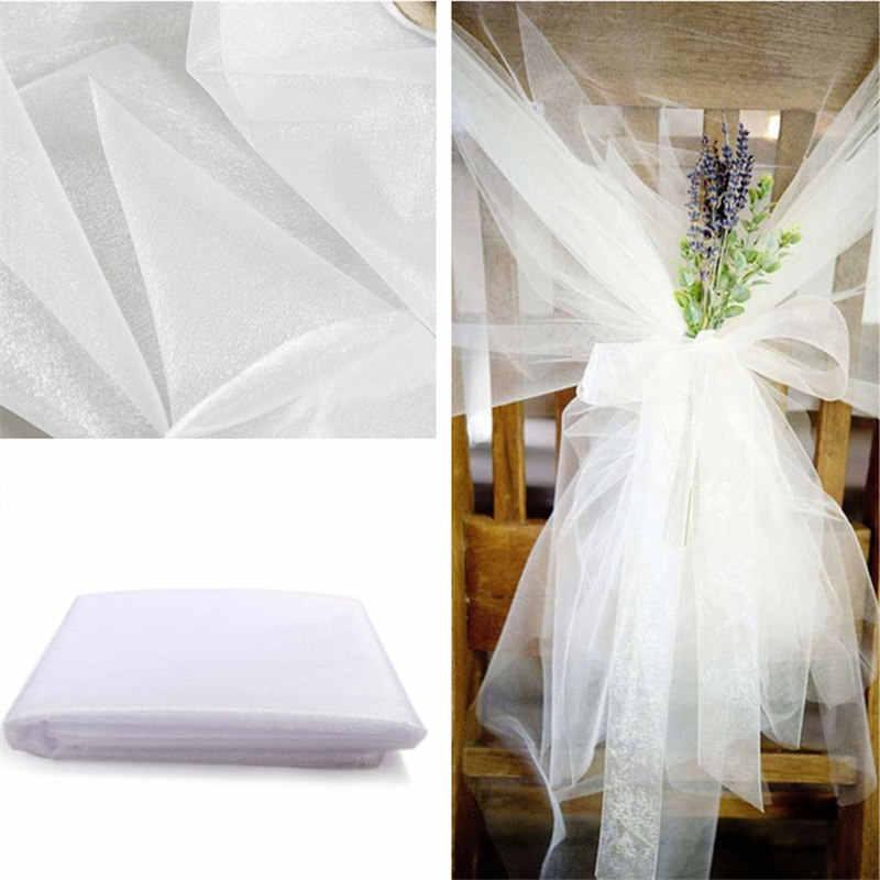 Dengan Harga Murah! 48 Cm * 5 Meter Tipis Crystal Organza Tulle Roll Kain untuk Ruangan Pesta Pernikahan Rumah Dekorasi Tahun Baru dekorasi