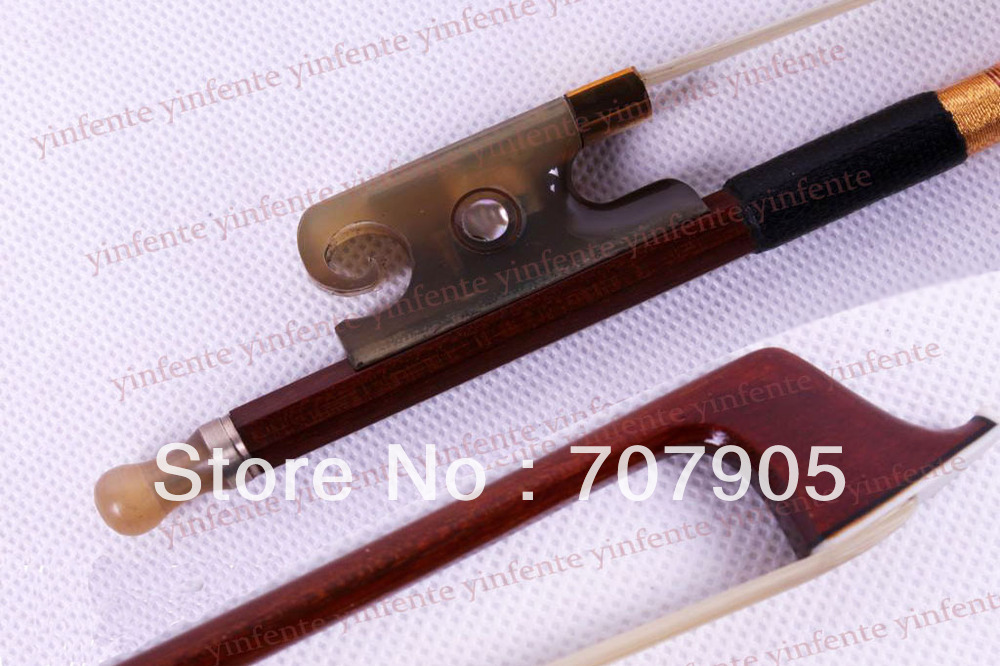 New 4/4 Violin Bow get quality Brazil wood Bow Snail Ox horn Frog 2 pcs quality brazil wood violin bow red ox frog 4 4 stallion bow hair