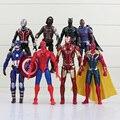8 pçs/lote 17 cm Super Hero Action Figure boneca de brinquedo Hawkeye capitão américa Thor Batman homem aranha de brinquedo figura Batman