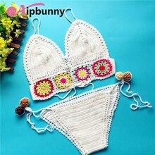 AtejiFey 2018 new hot Swimsuit Flower Bikinis Knitted De Femme Crochet Women  Set Bain Bathing Maillot Hand-made Swimwear Suit