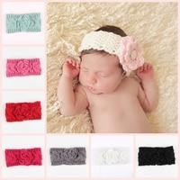 Fashion Newborn Flower Turban Ear Winter Warm Headband Crochet Knitted Hairband Headwrap Hair Band Accessories For