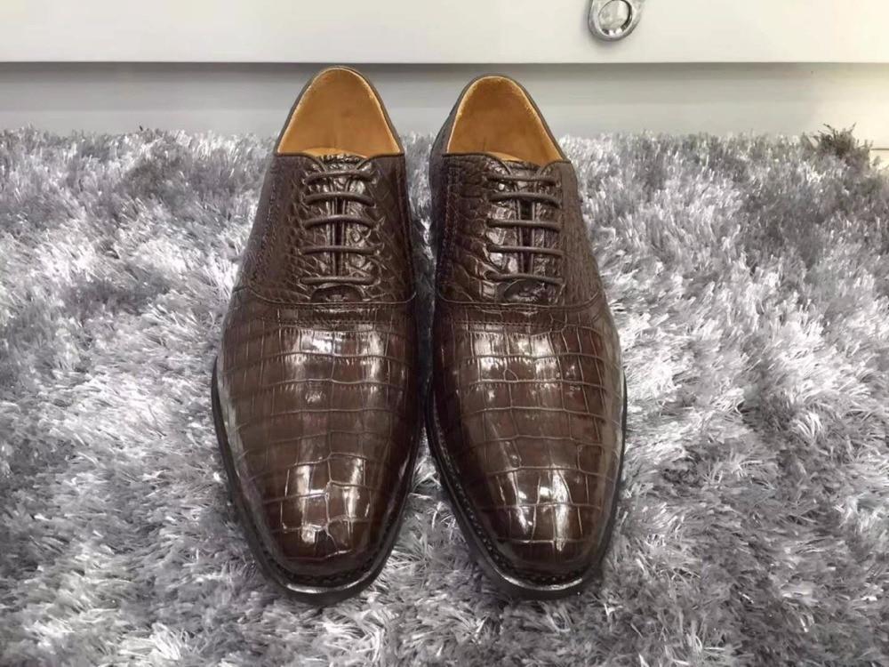 2018 new Genuine real genuine crocodil belly glossy skin men business shoe top quality crocodile skin men shoe brown shinny
