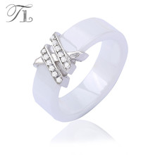 TL Big Antique Women's Ceramic Rings Jewelry With Zircon Crystal Stone Steel Fashion Black/White New Brand Anti Allergies Rings