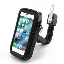 Motorcycle Scooter Rear View Mirror Mount Phone Holder Stand Mount with Water Resistance Zipper Case for iPhone 8, XS,Galaxy S9