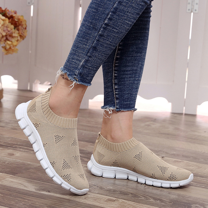 Lucyever Women Spring Summer Sneaker Knitted Mesh Vulcanized Shoes Casual Slip On Flat Soft Walking Footwear Zapatos De Mujer(China)