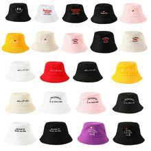 22 цвета, женская, для девочек, смешная вышивка, с буквенным принтом, с широкими полями, Панама, летняя, повседневная, Harajuku, хип-хоп, Студенческая, Спортивная, Рыбацкая шапка