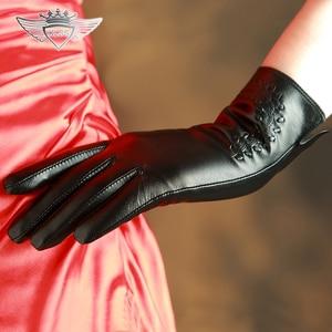 Image 2 - KLSS ブランド本革の女性の高品質ゴートスキン手袋秋冬エレガントなシープスキン手袋女性 2303