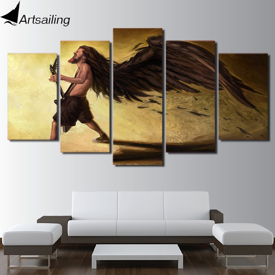 HD Printed 5 Piece canvas Art Classical Guitar DEAN RAZORBOLT Paintings Abstract Wing Man Wall Pictures Free Shipping NY-7037A