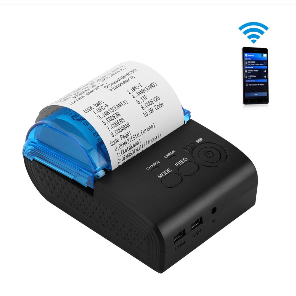 58mm Mini Portable Bluetooth 4.0 Thermal Receipt Printer POS/ESC/STAR for Windows Android Phone Computer goojprt mtp 3 portable 80mm bluetooth thermal printer exquisite lightweight design eu plug support android pos multi language