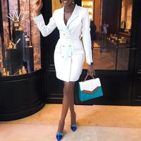 2019 Spring Women Elegant Fashion Trendy Slim Fit Work Wear Vestido Coats Female Vestir V Neck Double Breasted dresses Blazer