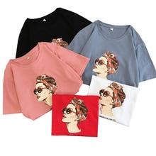 Shintimes 2019 Fashion Print Female Bts T-shirt Cotton Women Tshirts Summer Harajuku Short Sleeves T Shirt Femme Vintage Tops