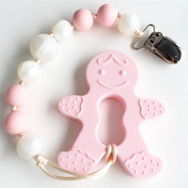 Mordedor De Silicona bebé Mordedor Rosa Hombre de pan de Jengibre Con Seguridad Beads Dentición Chupete Clip Sensoriales Juguetes Masticables