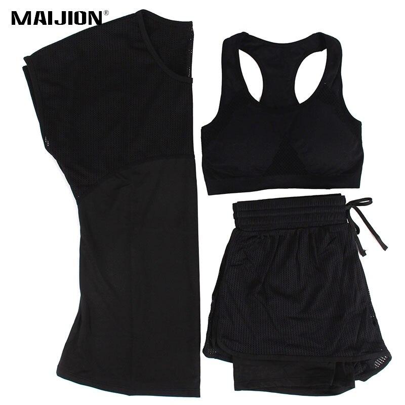 MAIJION 3Pcs Women Sports Running Set Yoga T Shirt Tops&Shorts&Bra Set Quick Dry Gym Fitness Yoga Set Workout Sportswear Suit