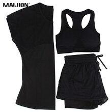 MAIJION 3 színes női sportos futószett Yoga T-Shirt Tops & rövidnadrág & Bra Set Gyors száraz edzőterem Fitnesz jóga edzés Sportruházat illik