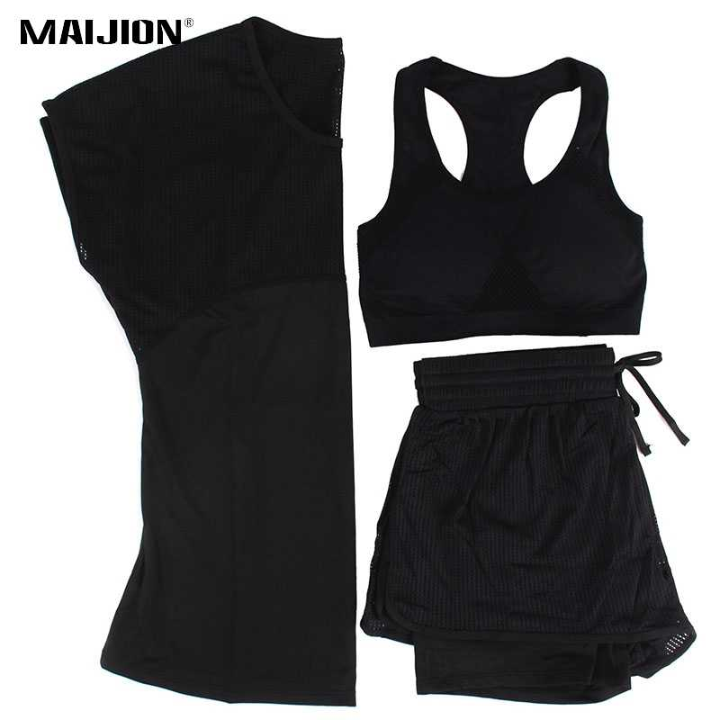 MAIJION 3шт. Спортивный набор для тренировок: футболка, шорты и топ. Спортивный набор из быстросохнущего материала.