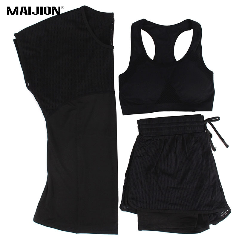 MAIJION 3Pcs Women Sports Running Set Yoga T Shirt Tops&Shorts&Bra Set Quick Dry Gym Fitness Yoga Set Workout Sportswear Suit