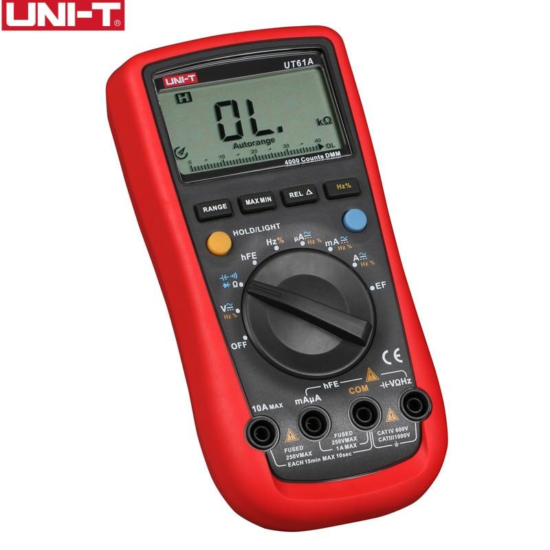 UNI-T multimètre numérique UT61A UT61B UT61C UT61D UT61E vrai rms AC DC compteur logiciel CD & Data Hold multitesteur + cadeau