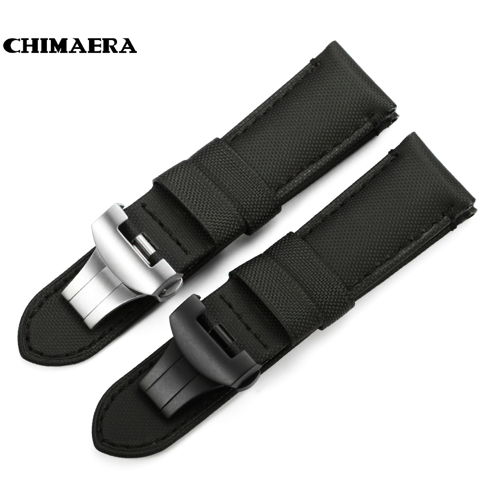 CHIMAERA 24mm Black Kevlar Fabric Nylon Leather Watchband For PAM Watch Strap Deployment Buckle For Panerai Watch Band Belt 24mm handmade black red stitched genuine calf leather watch strap band for deployment buckle watchband strap for panerai pam