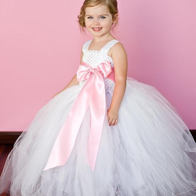 6 cinta de color arco vestido de niña flor blanca para el banquete ...
