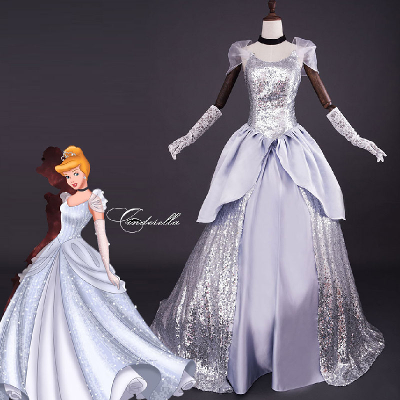 Plus Size Wedding Dresses Cinderella Ball Gown: Deluxe Cinderella Adult Costume Glittery Silver Princess