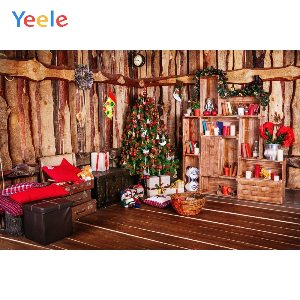 Yeele Merry Christmas Party Tree Wood House Bookshelf Baby Kids Birthday Photo Background Photography Backdrop For Photo Studio in Background from Consumer Electronics