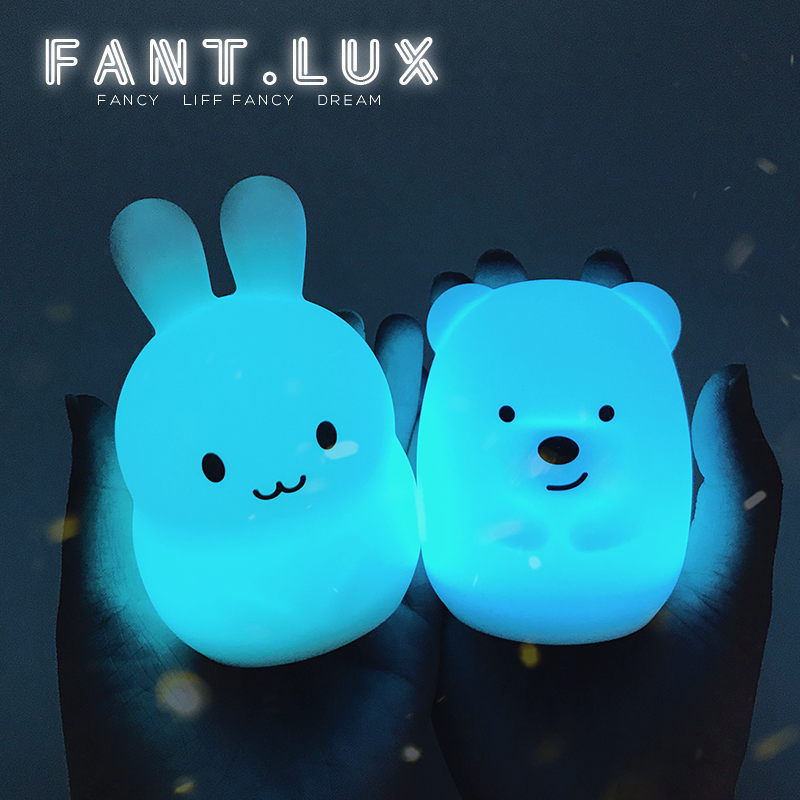 Colorful Animal Silicone soft LED Night Light for Baby Kids lovely rabbit bear Touch sensor Gifts for Children 7 color changing rabbit led night light silicone touch sensor tap control nightlight remote controller for kids children baby