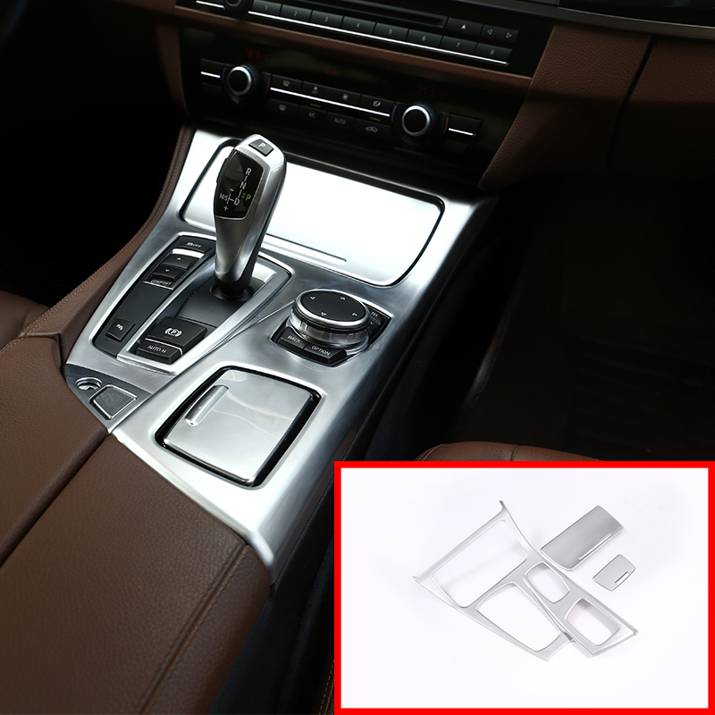 3 Pcs ABS Center Console Gear Shift Cover Trim For BMW 5 Series F10 2014 2017