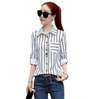Fashion Black White Striped Chiffon Shirt Female Long Sleeves Tops Spring Autumn New Jacket Women Large
