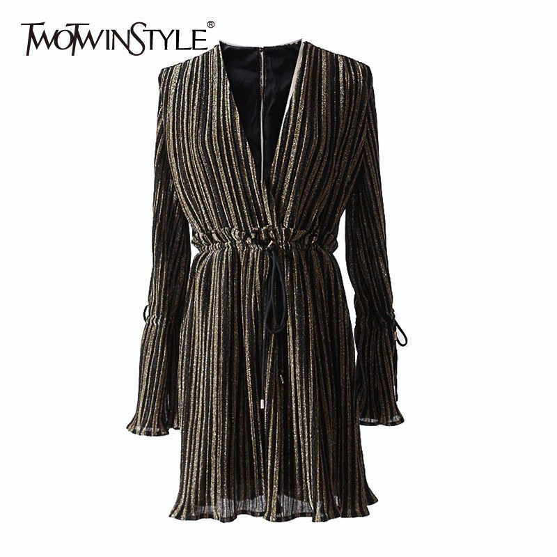 TWOTWINSTYLE Striped Dress Female Deep V Neck Long Sleeve Slim Bandage Summer Dresses For Women Hollow Out OL Style Fashion Tide twotwinstyle striped dress female deep v neck long sleeve slim bandage summer dresses for women hollow out ol style fashion tide