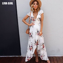 Liva girl 2017 Summer New V Collar Flower Printing  Long Dress Sexy Short Sleeve Slit Beach Irregular Dress