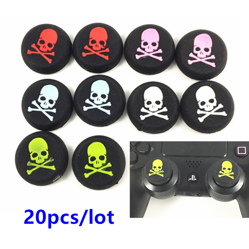 20pcs/lot Skull Head Thumb Stick joystick silicone Cap For Playstation 4 PS4 PS3 Analog Grip For Xbox one Xbox360 Controller