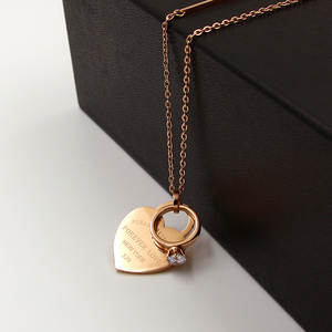 Sweater Chain Necklace Forever Circle Pendant Crystal Stainless-Steel Rose-Gold-Color